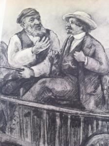 שלום עליכם וטביה החולב, ציור מאת דוד לבקובסקי